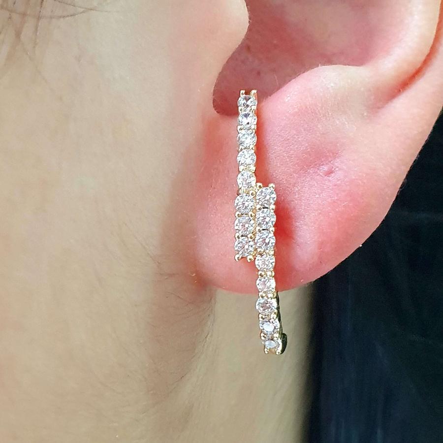 Brinco Ear Hook Semi Joia Ouro Branco