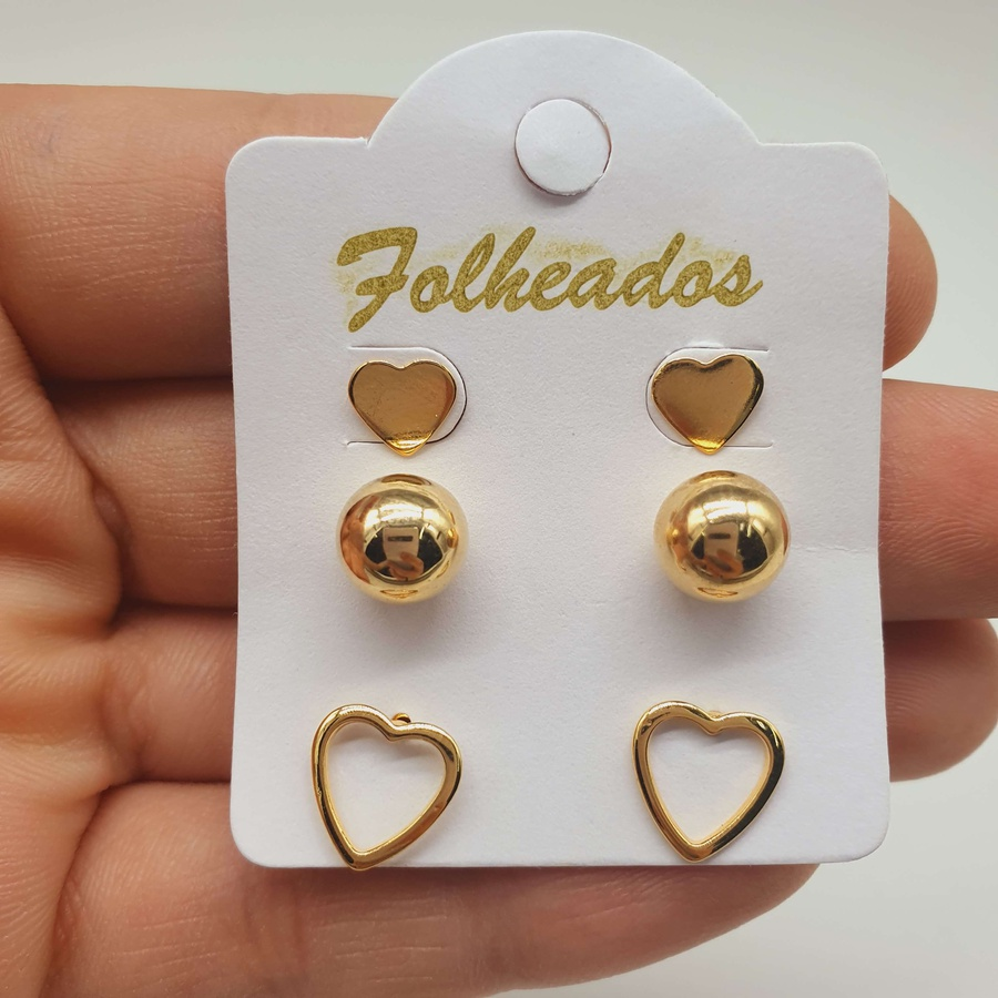 Kit De Brincos Folheados Dourado Coração