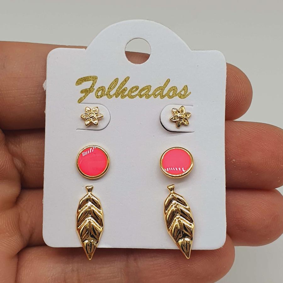 Kit De Brincos Folheados Dourado Disco Rosa