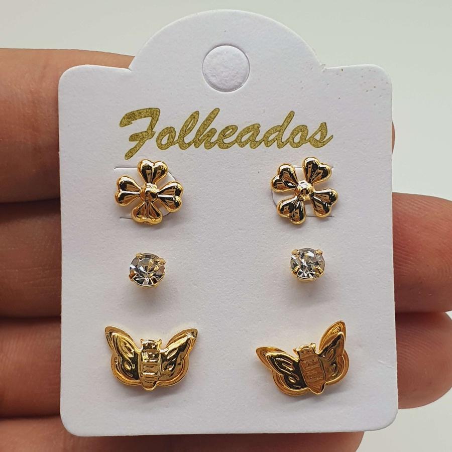 Kit De Brincos Folheados Dourado Borboleta