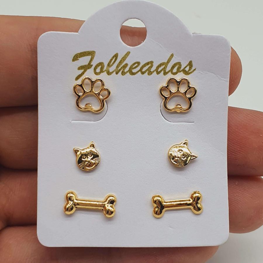 Kit De Brincos Folheados Dourado Patinha