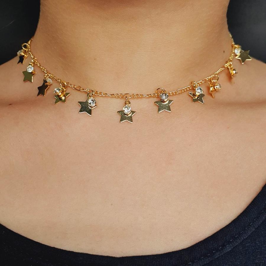 Colar Folheado Dourado Estrelas