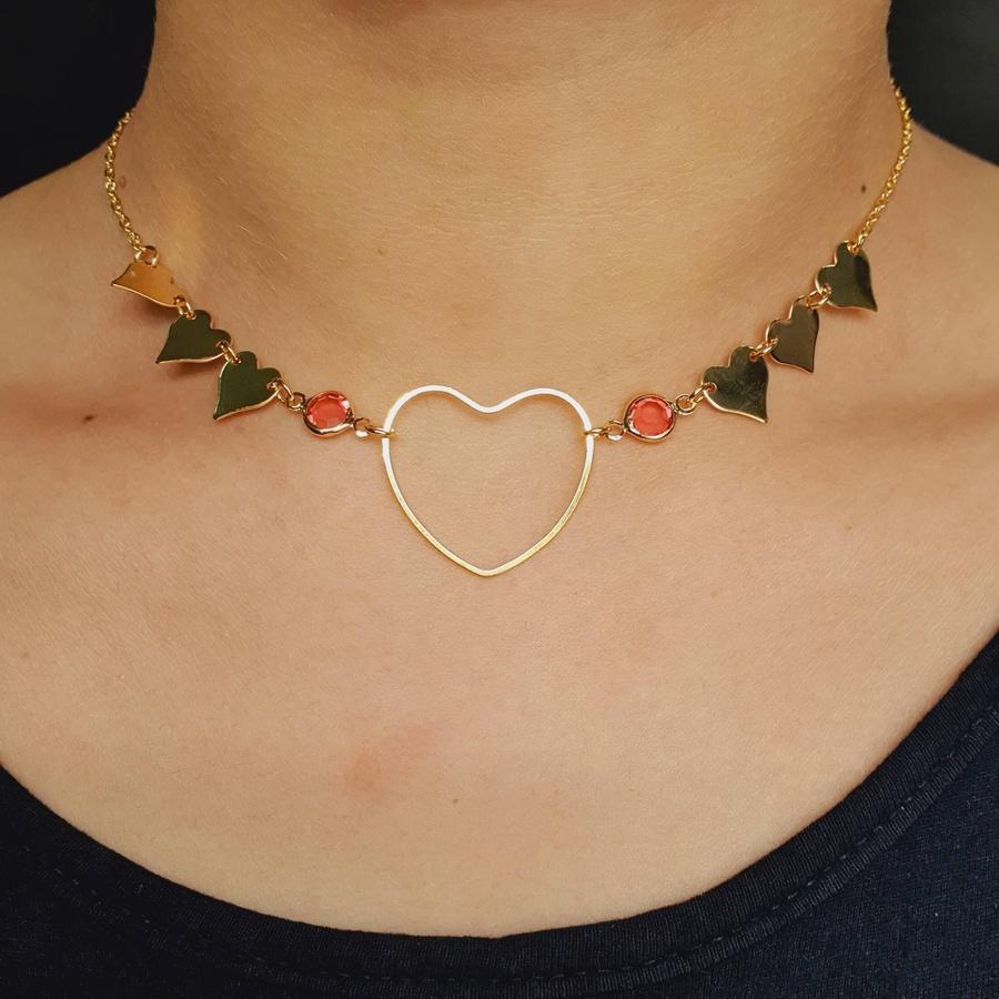 Colar Folheado Dourado Coração Rosa