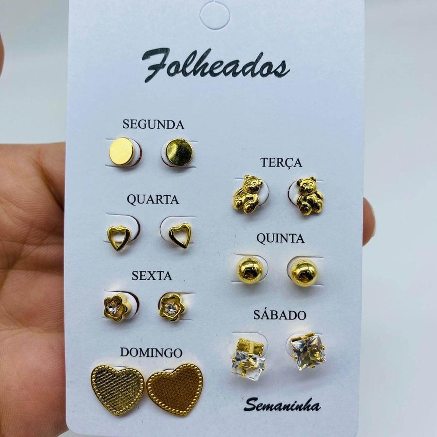 Kit De Brincos Dourados Dias Da Semana Variados 14