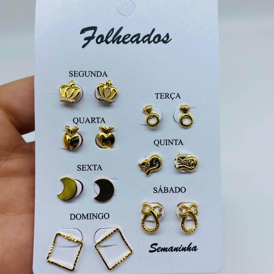 Kit De Brincos Dourados Dias Da Semana Variados 20