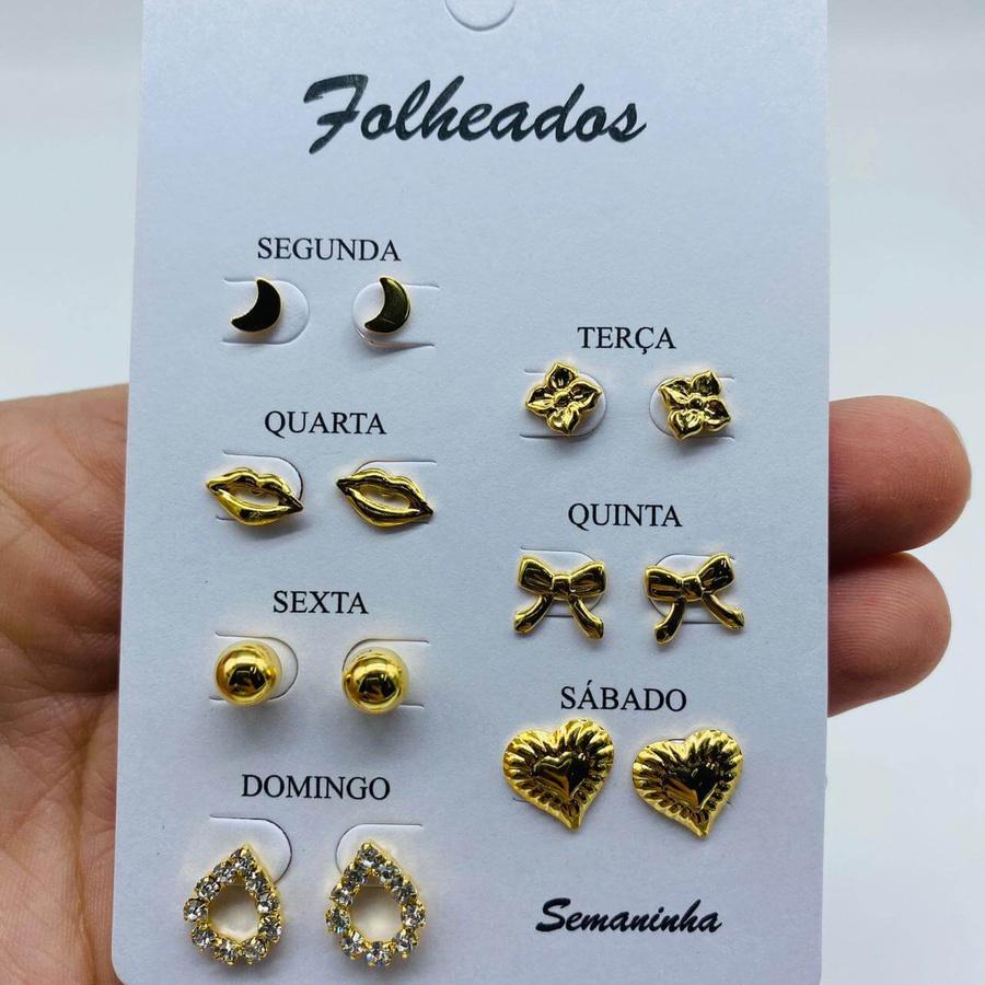Kit De Brincos Dourados Dias Da Semana Variados 3