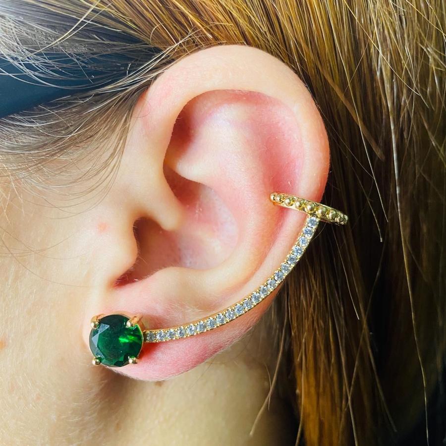 Brinco Ear Cuff Zircônia Dourado Verde