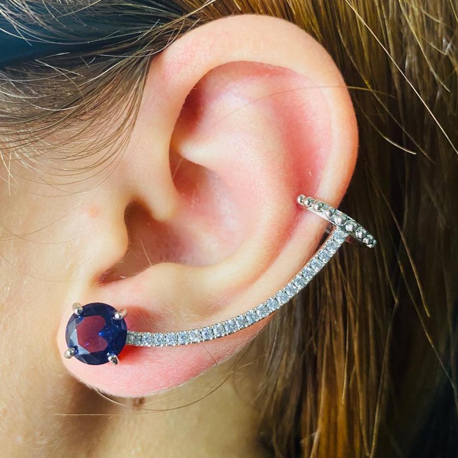 Brinco Ear Cuff Zircônia Prata Lilás