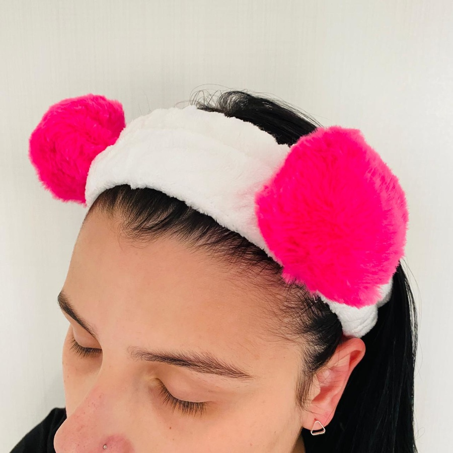 Faixa Atoalhada Para Maquiagem Pelúcia Panda Pink