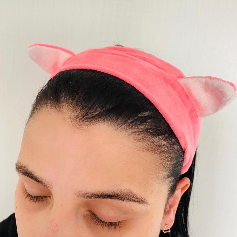 Faixa Atoalhada Para Maquiagem Pelúcia Gatinho Rosa Escuro