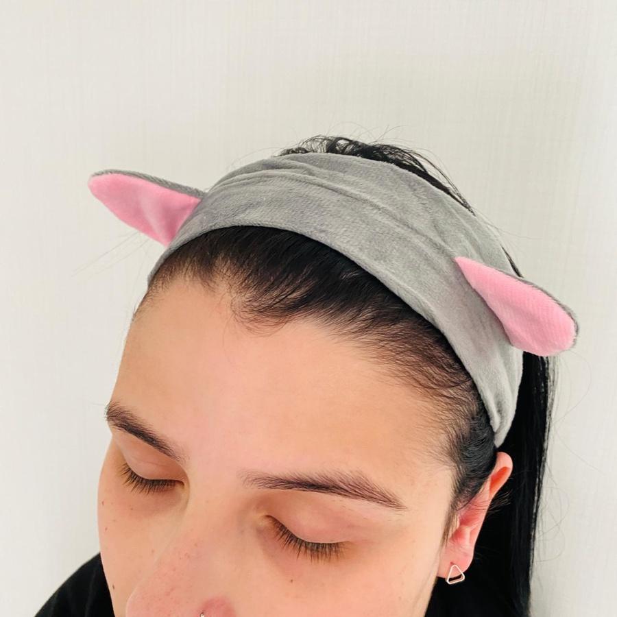 Faixa Atoalhada Para Maquiagem Pelúcia Gatinho Cinza
