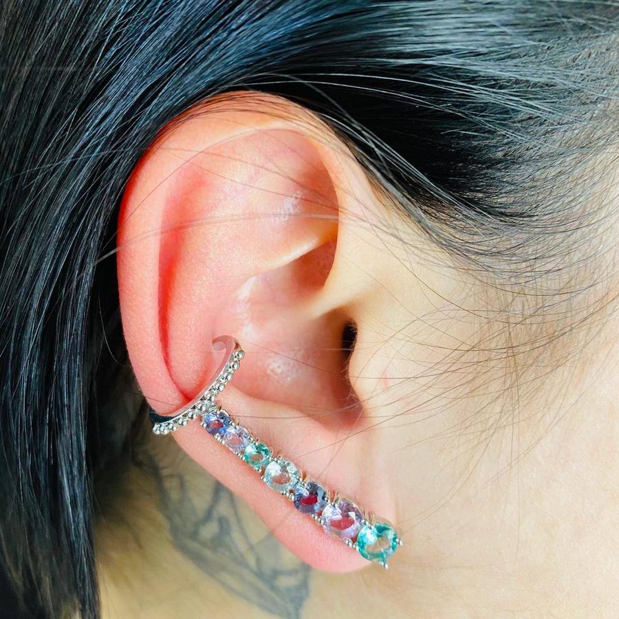 Brinco Ear Cuff Zircônia Prata Colorido