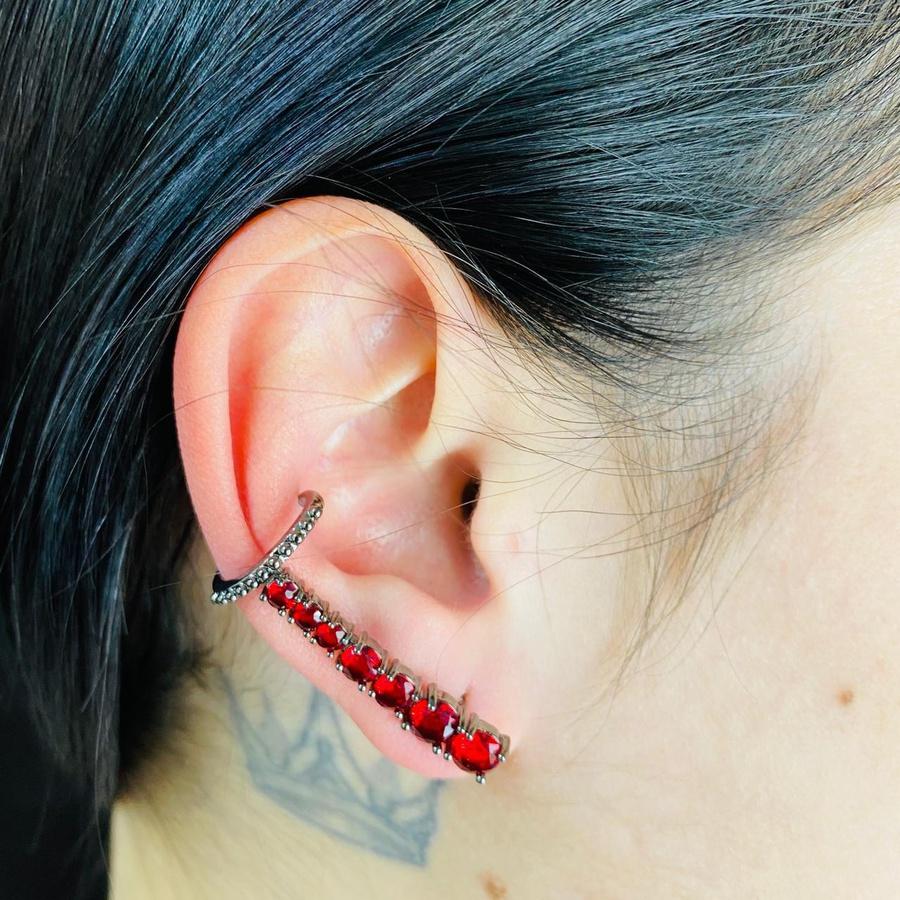 Brinco Ear Cuff Zircônia Grafite Vermelho