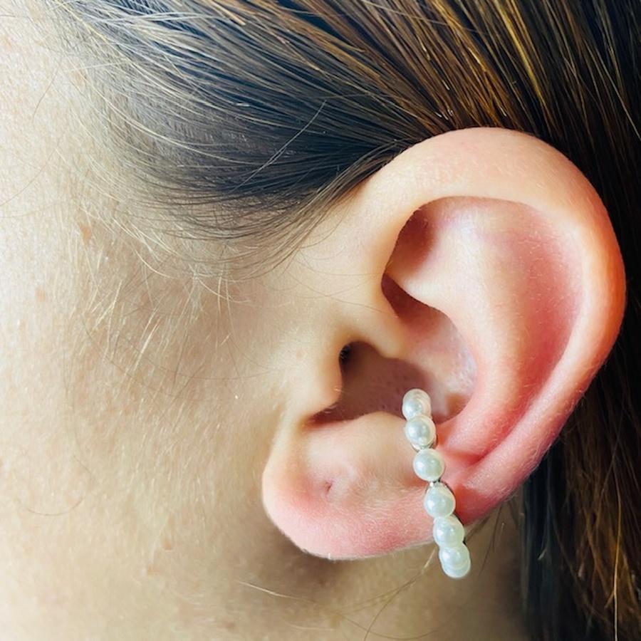 Piercing Fake (Uma Unidade) Prata Pérolas
