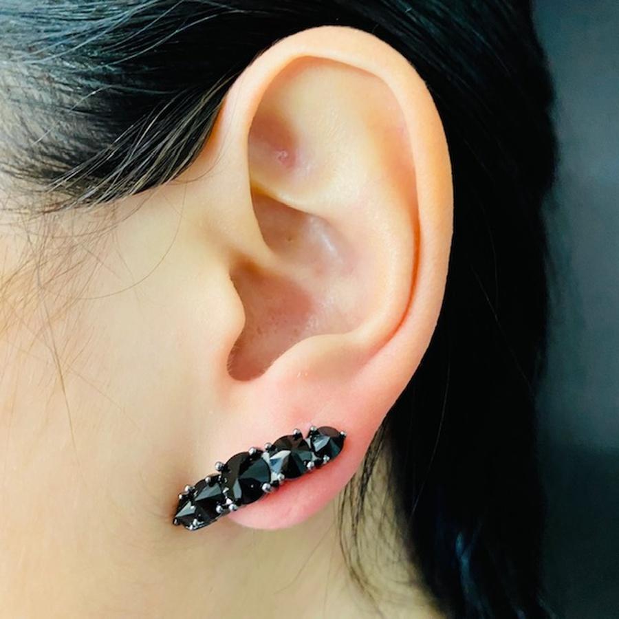 Brinco Ear Cuff Zircônia Grafite Preto