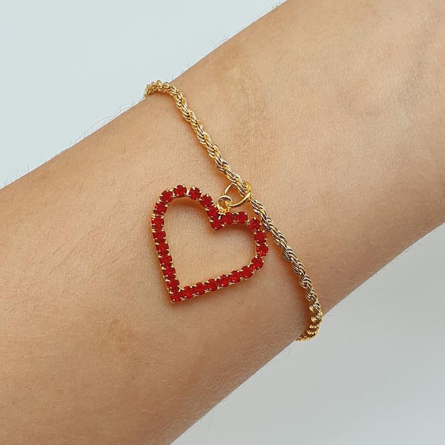 Pulseira Folheada Dourada Baiana Coração Vermelho