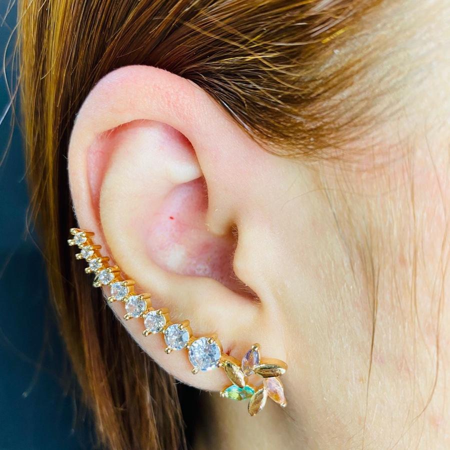 Brinco Ear Cuff Zircônia Dourado Colorido