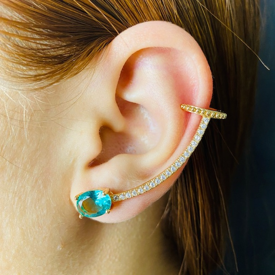 Brinco Ear Cuff Zircônia Oval Dourado Acqua