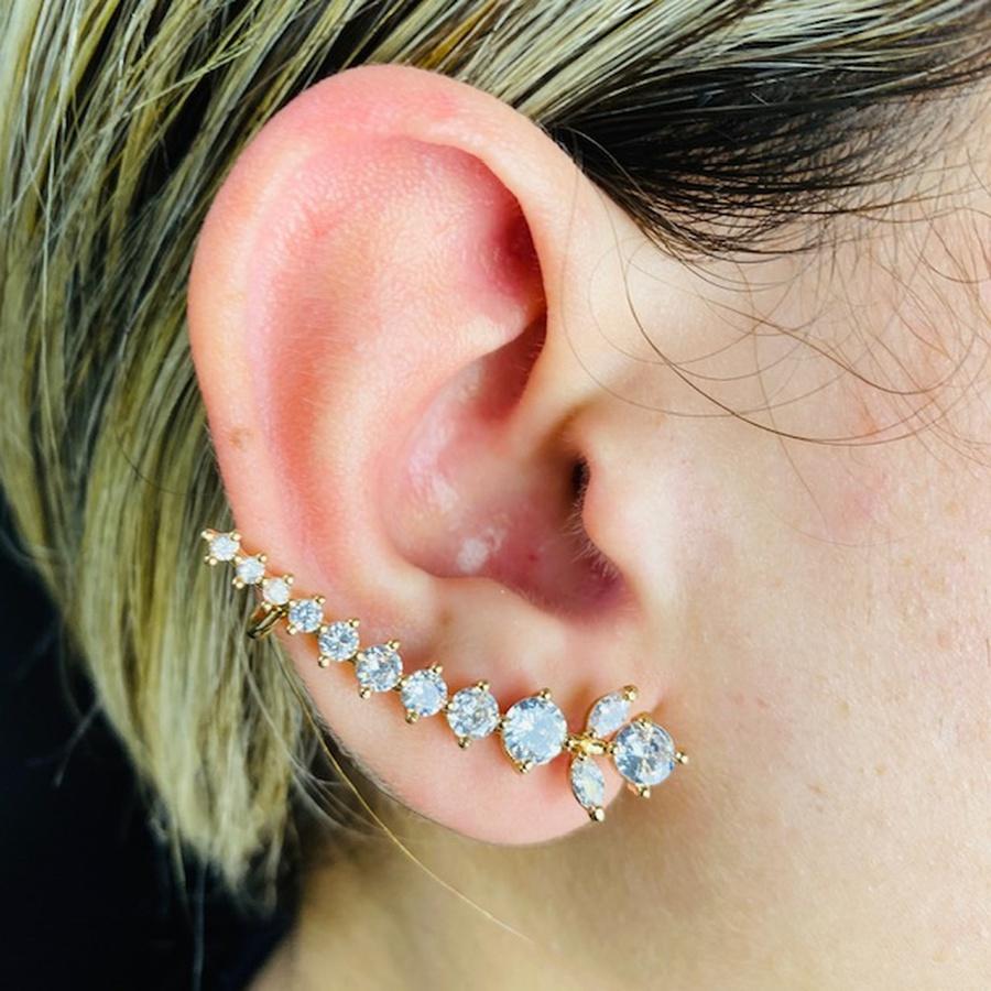 Brinco Ear Cuff Zircônia Ramos Dourado Branco