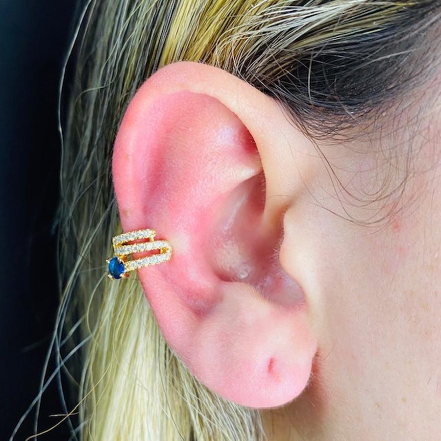 Piercing Fake Zircônia Dourado Azul Marinho