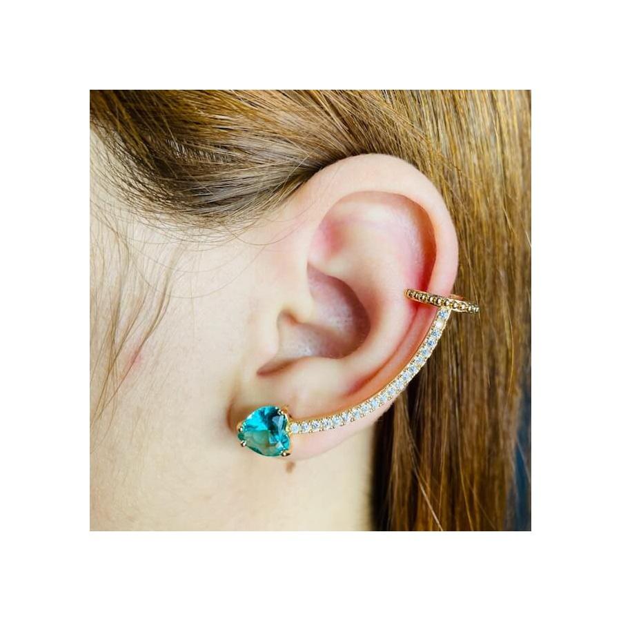 Brinco Ear Cuff Zircônia Coração Dourado Acqua