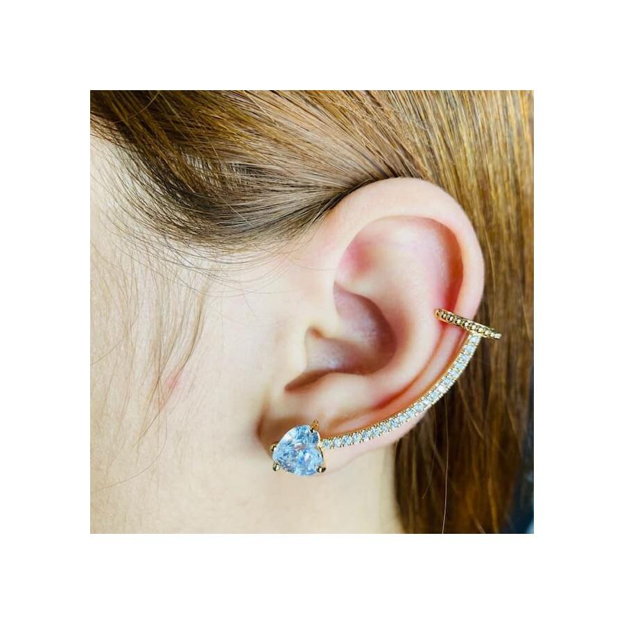 Brinco Ear Cuff Zircônia Coração Dourado Branco