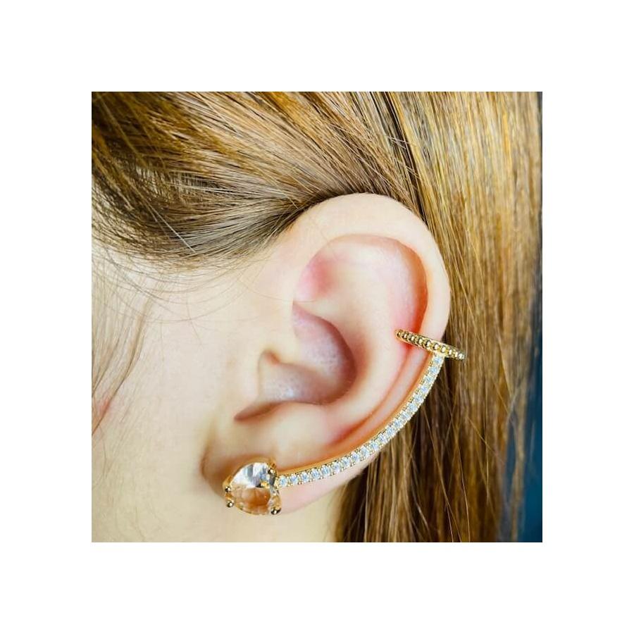 Brinco Ear Cuff Zircônia Coração Dourado Rosê