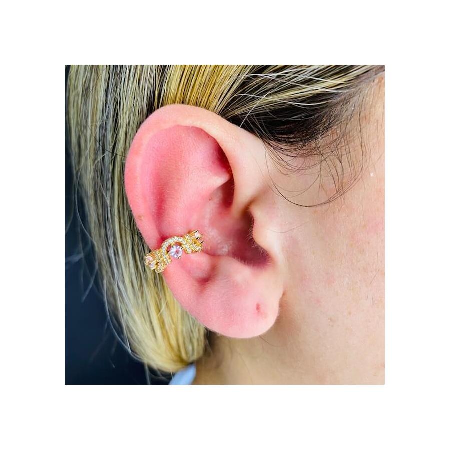 Piercing Fake Zircônia Dourado Rosa