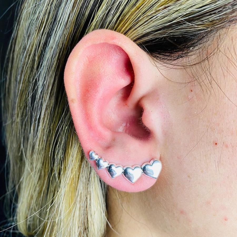 Brinco Ear Cuff Folheado a Prata 925 Coração