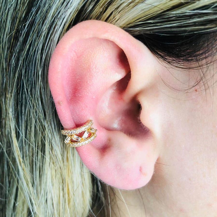 Piercing Fake (Duas Unidades) Zircônia Dourado