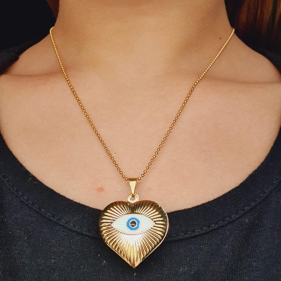 Colar Folheado a Ouro 18K Coração Com Olho Grego