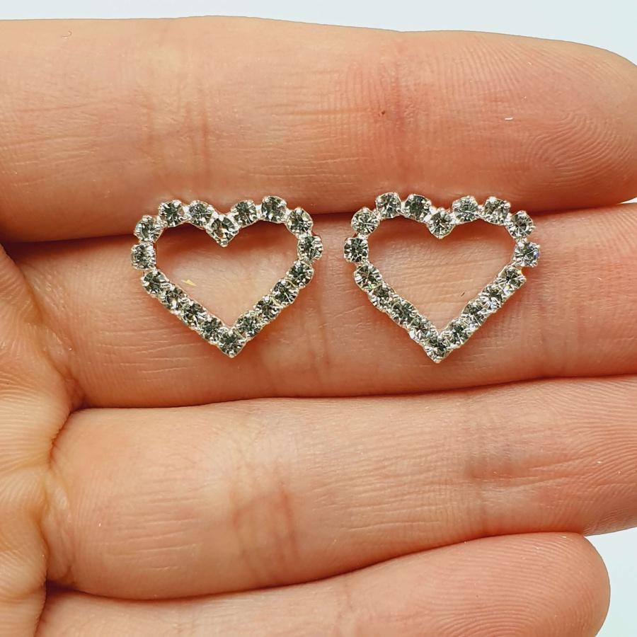 Brinco Folheada a Prata Coração