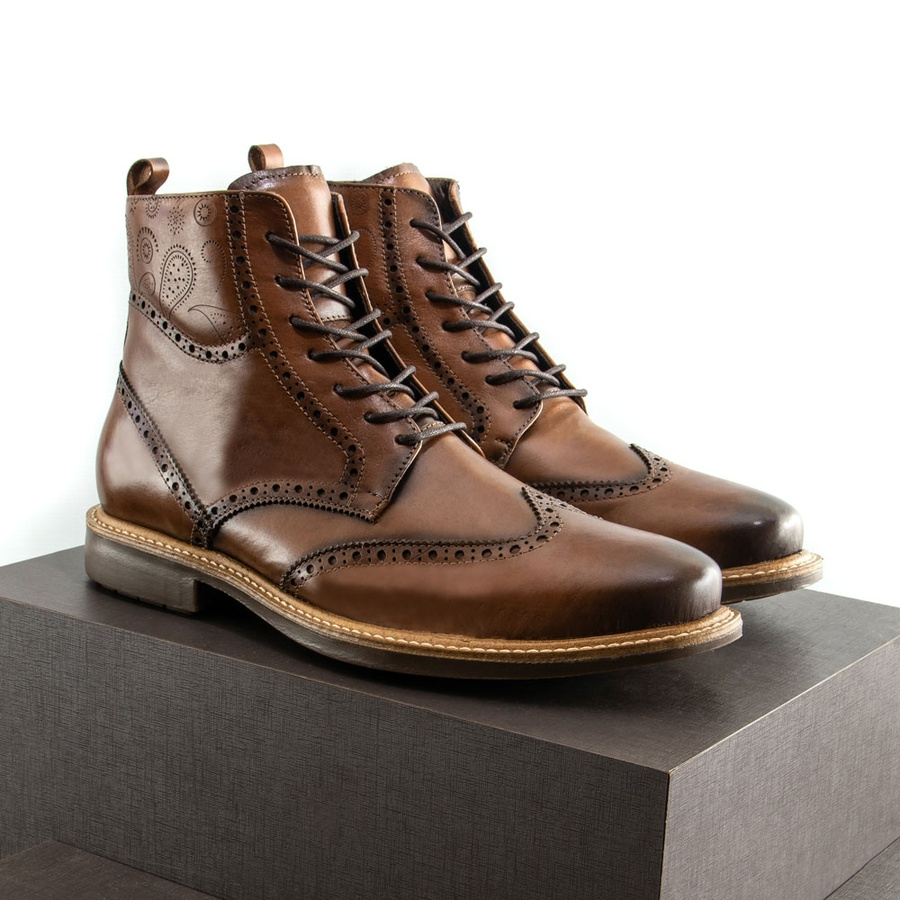 Bota Coturno Casual Brogue Faway Berkley Conhaque