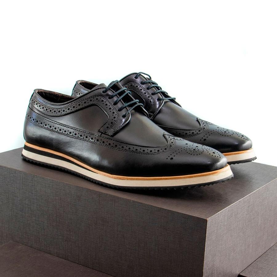 Sapato Casual Derby Brogue Durhan Preto