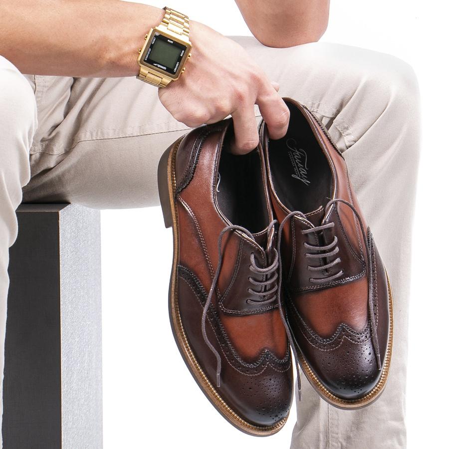 Sapato Casual Masculino Oxford Brogue Mood Transit Café-Whisky