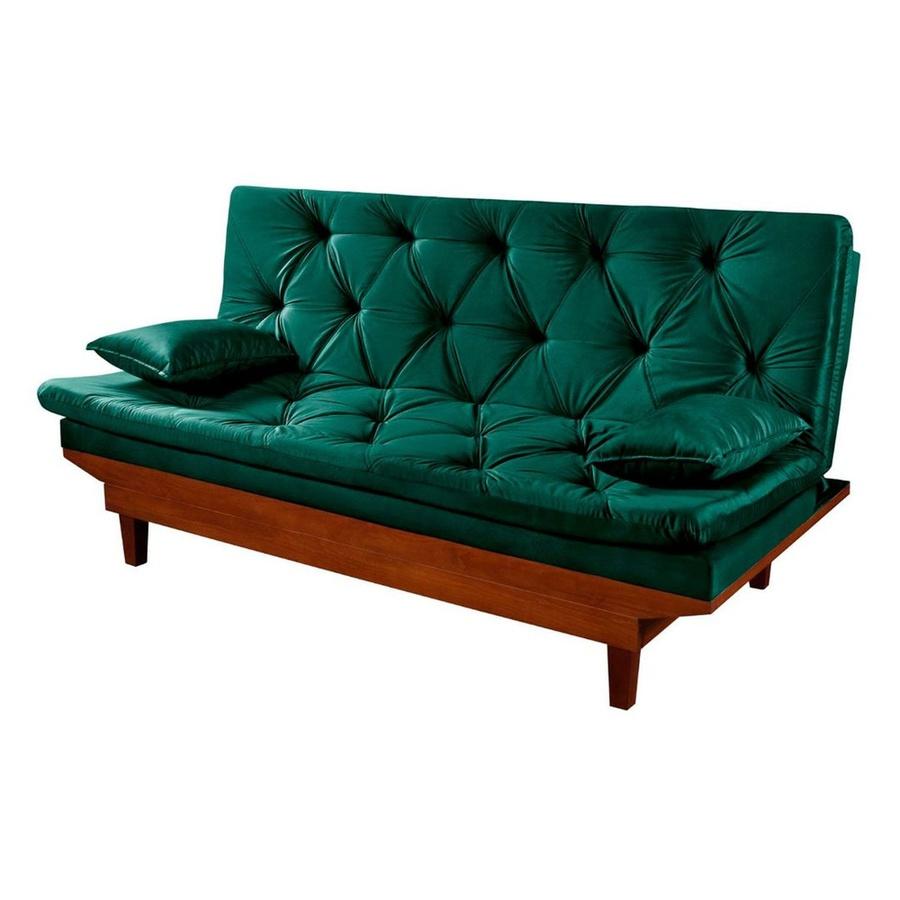 Sofa Cama Reclinavel Caribe Verde em Suede
