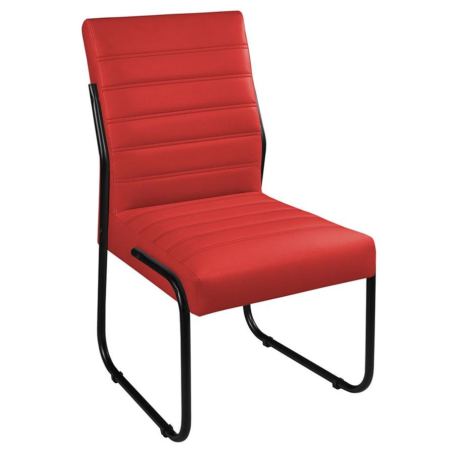 2 Cadeiras Sala de Jantar em Couro Sintético Vermelho Pés Preto
