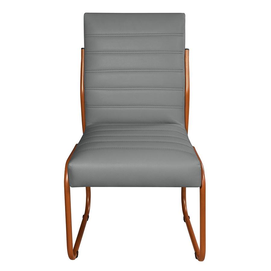 2 Cadeiras Sala de Jantar em Couro Sintético Cinza Pés Cobre