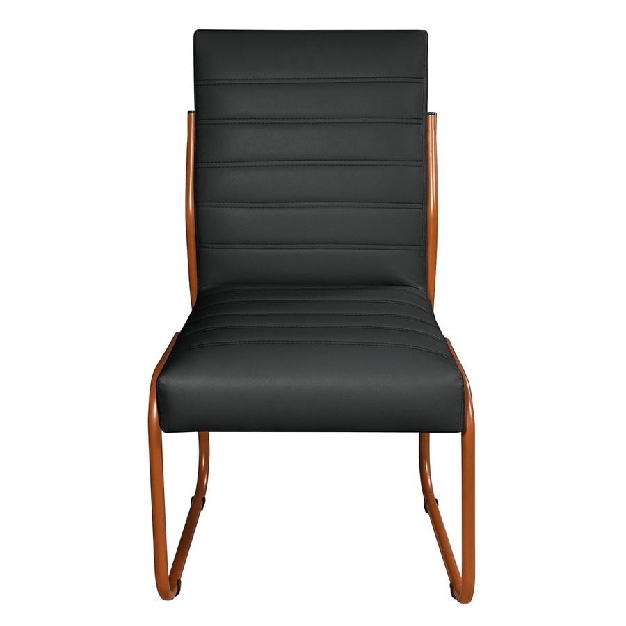 2 Cadeiras Sala de Jantar em Couro Sintético Preto Pés Cobre