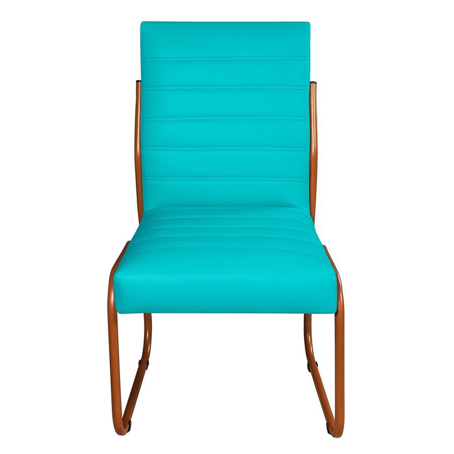 2 Cadeiras Sala de Jantar em Couro Sintético Azul Turquesa Pés Cobre