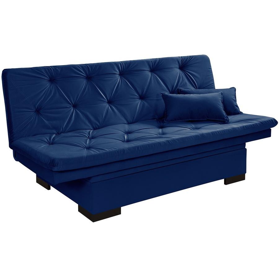 Sofá Cama Com Baú Reclinável Suede Liso - Azul Marinho