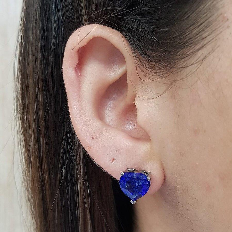 Brinco Pequeno Coração Pedra Fusion Grafite Azul Escuro