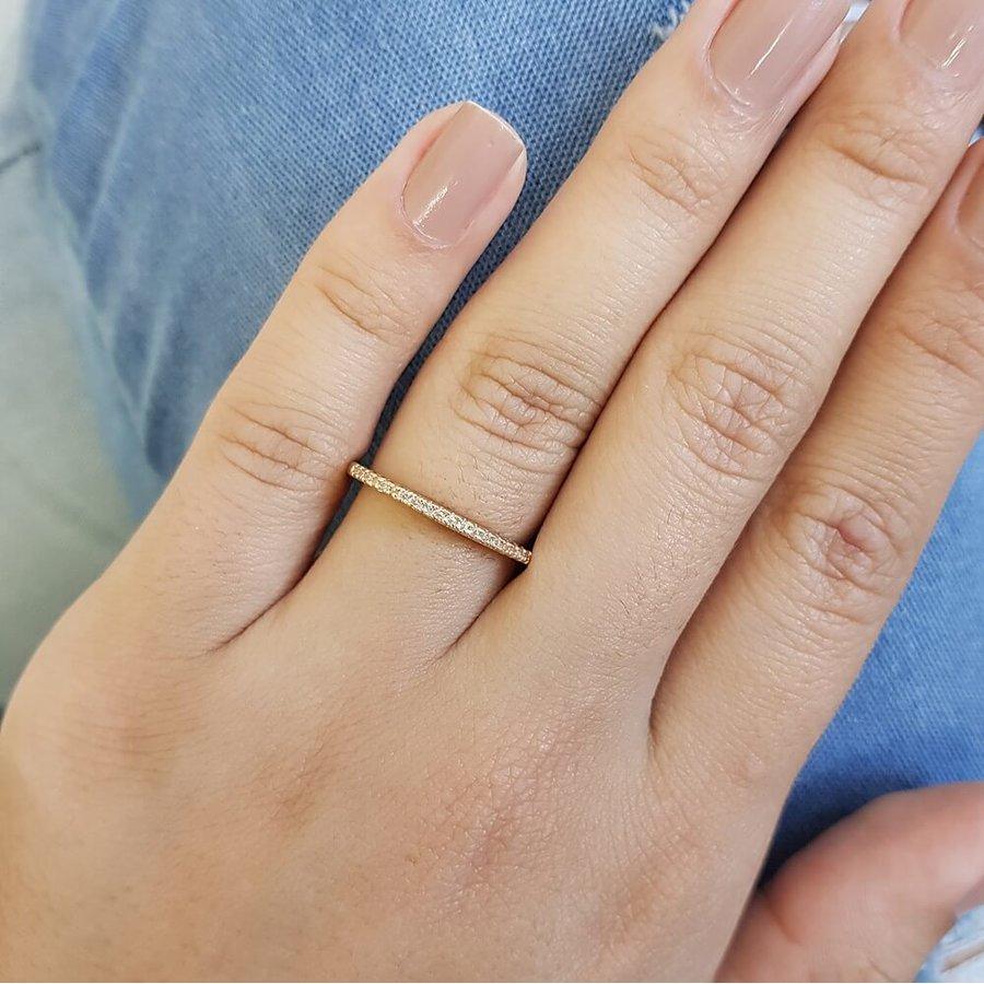 Anel Micro Zircônia Dourado