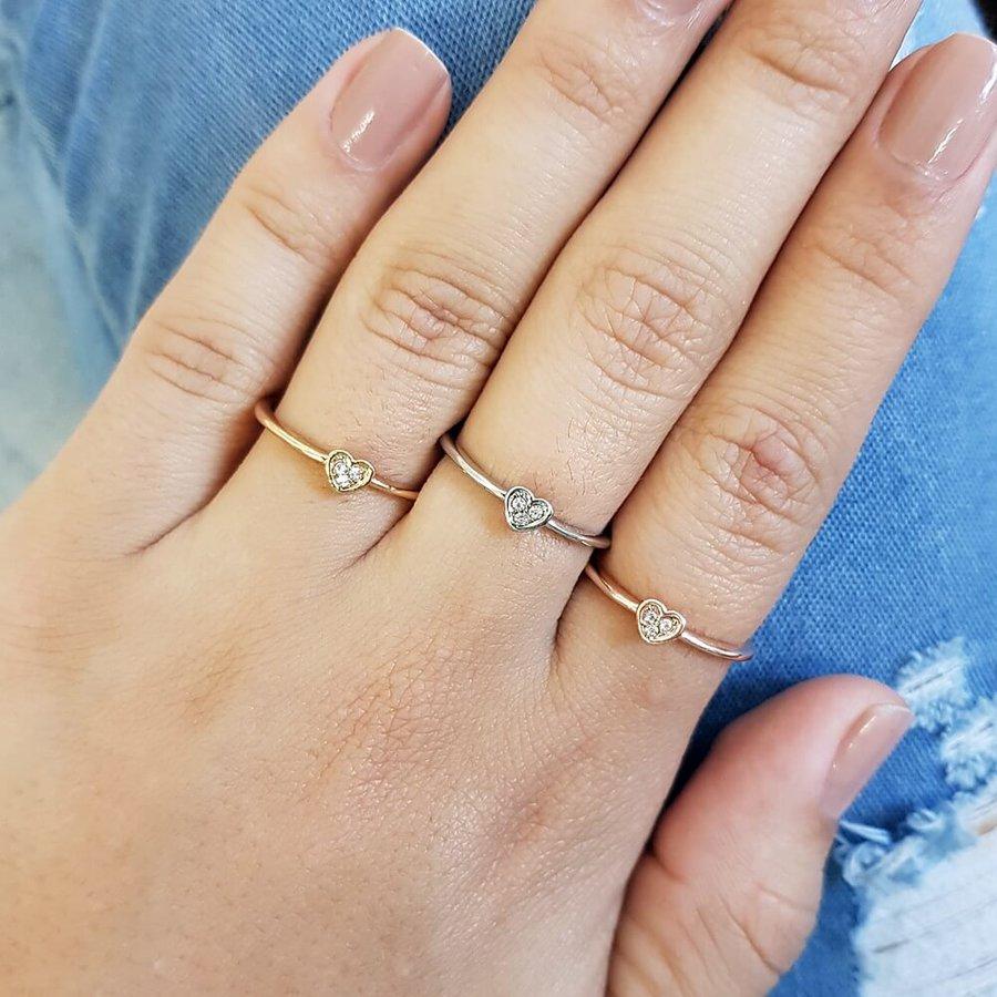 Trio De Anéis Coração Dourado Rosê Prata