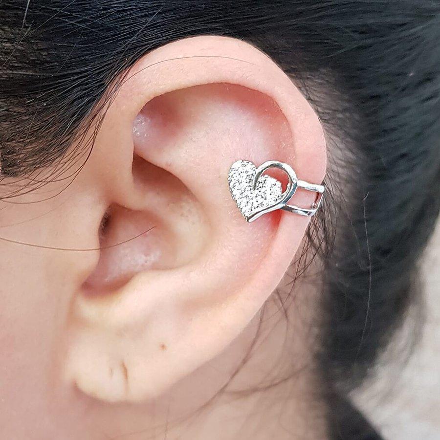 Piercing Fake Zircônia Coração Prata