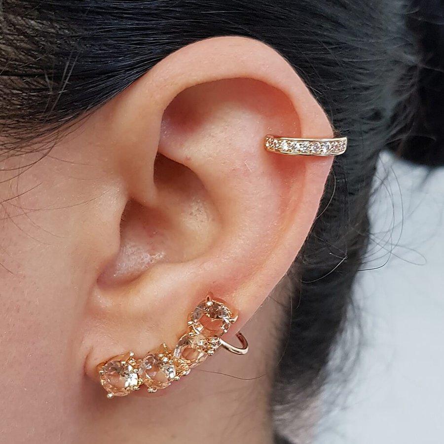Kit De Brinco Ear Cuff e Piercing Fake Zircônia Dourado Rosê