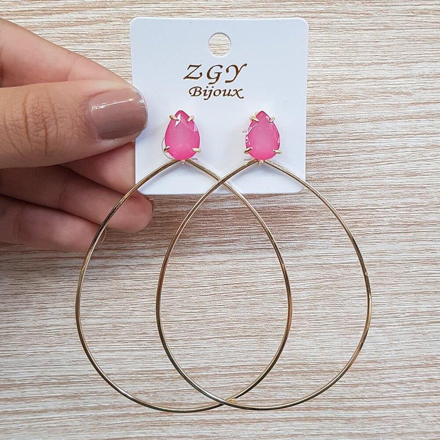 Brinco Maxi Gota Dourado Pink