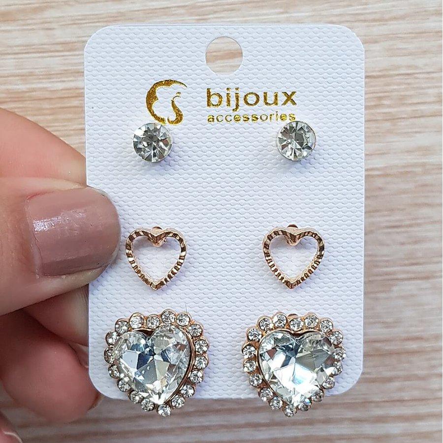 Kit De Brincos Coração Dourado Branco