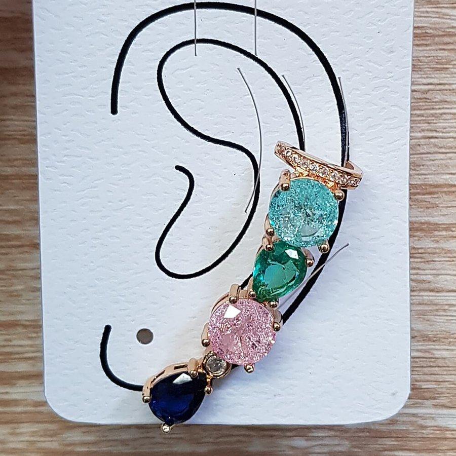 Brinco Médio Ear Cuff Pedra Fusion Dourado Colorido