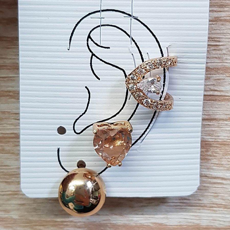 Kit De Brincos e Piercing Fake Coração Dourado Rosê